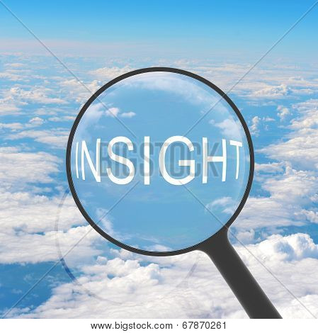 Magnifying glass looking INSIGHT