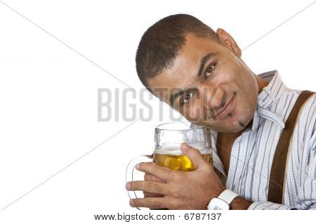 Young Man Holding Carefully Oktoberfest Beer Stein In Hands