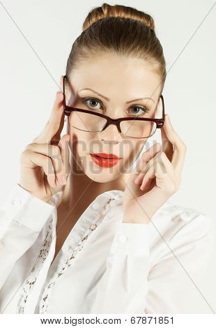 young beautiful woman in glasses