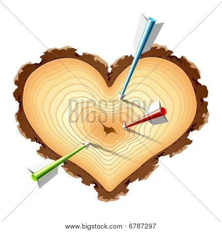 Sección de madera de la forma de corazón con flechas. Vector.