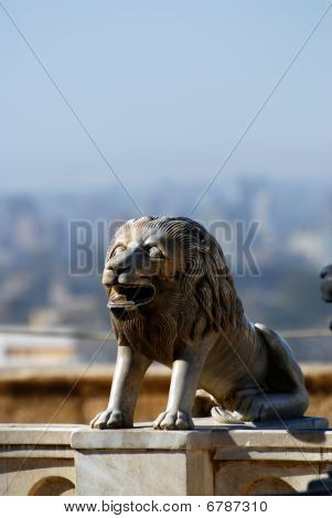 stone lions out of Mohamed Ali Mosque the Saladin Citadel of Cairo Egypt