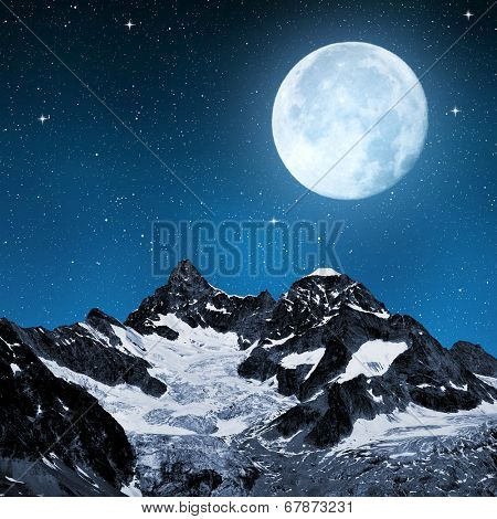 Ober Gabelhorn in night sky with moon - Swiss Alps