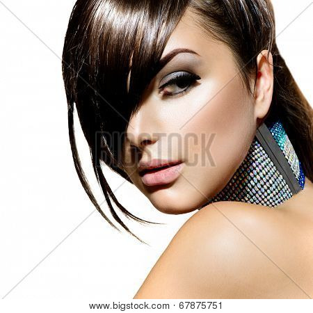 Fringe Hairstyle. Fashion Beauty Girl. Gorgeous Brunette Woman Portrait. Stylish Fringe Haircut and Makeup. Hairstyle. Make up. Vogue Style. Sexy Glamour Girl