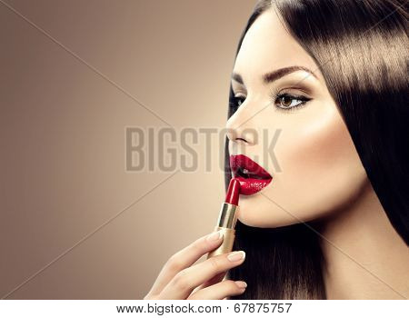 Lipstick. Professional Lips Make-up. Lipgloss. Beauty Girl Applying Lip stick