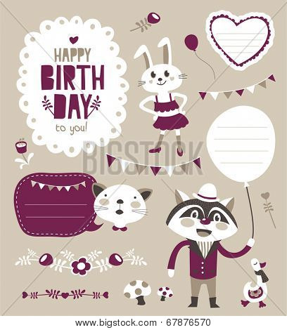 Set of sticker/ gift tag with cute animals