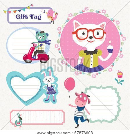 Set of gift tags with cute animals