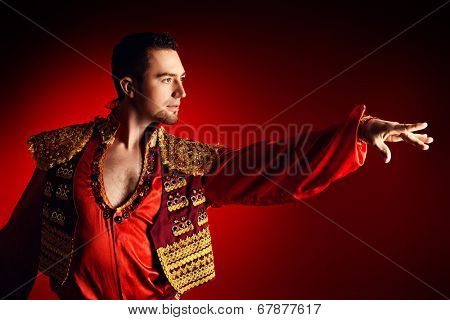 Portrait of a handsome man latino dancer.