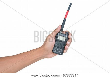 Handheld Walkie Talkie Isolated On White Background With Clipping Path