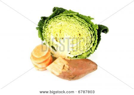 Half A Cabbage With Sweet Potato