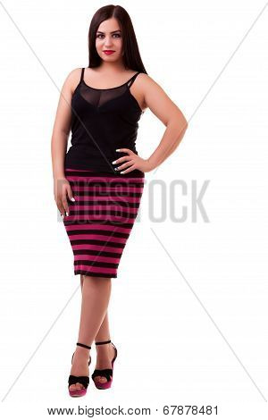 Woman Over White Background Full Body