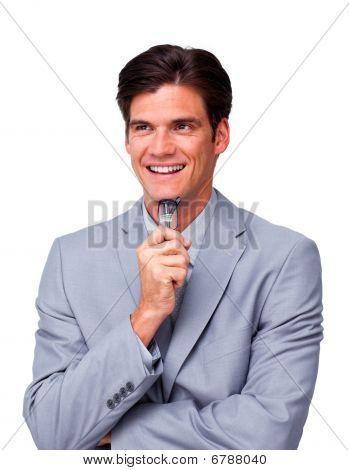 Happy Businessman Holding Glasses
