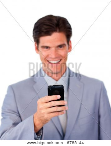 Smiling Businessman Using A Mobile Phone