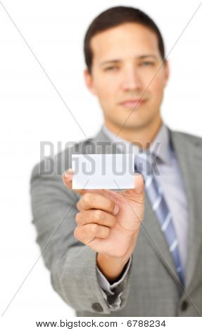 Serious Male Executive Holding A White Card