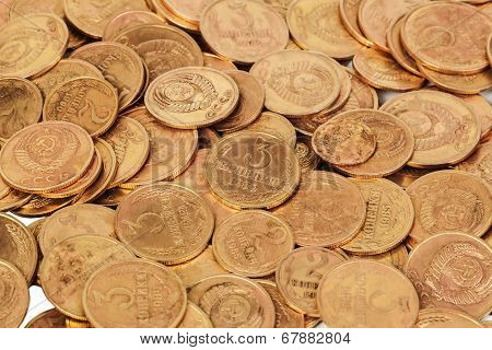 Old Ussr Coins Closeup