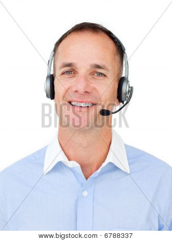 Charming Customer Service Agent Talking On Headset