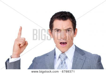 Astonished Businessman Pointing Upward