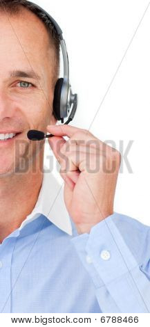 Close-up Of A Mature Customer Service Agent Talking On Headset