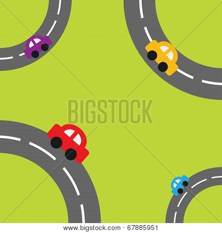 Background with roads in the corners and cartoon cars