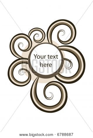 Abstract round frame with trendy spirals