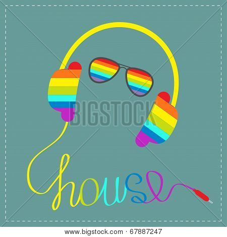 Rainbow Headphones With Cord In Shape Of Word House And Glasses. Blue Background. Music Card.