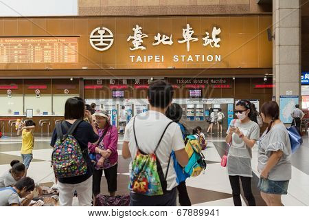 TAIPEI - JULY 4th : Lobby of Taipei Station with tourists in 4th, 2014 in Taipei, Taiwan.