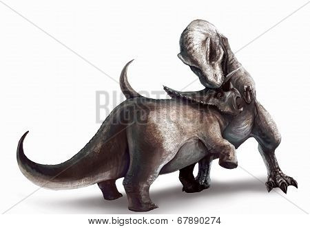 Vector Tracing Of Tyrannosaurus Is Fighting Triceratops In Watercolor Style