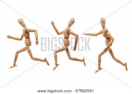 Wood Man Model Running