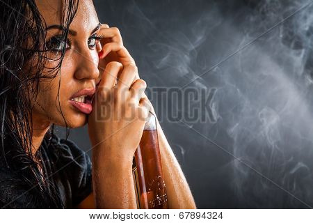 Portrait Of Beautiful Woman With Bottle Of Alcohol Drink