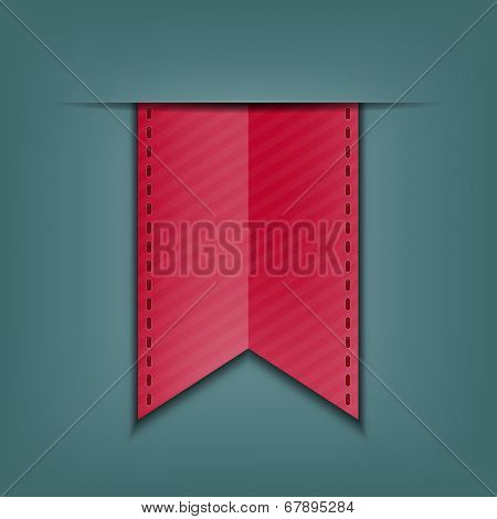 Bookmark decoration ribbon. Stitched silky ribbon. Vector illustration