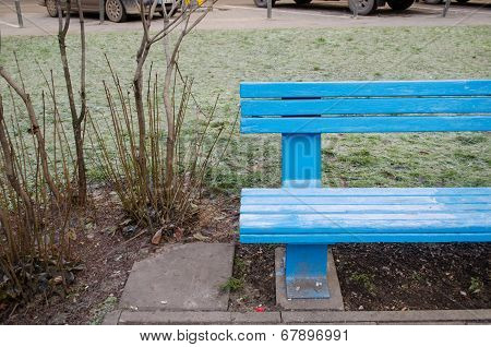 Blue Wooden Bench Fragment Near Bush In Park
