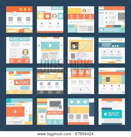 Vector Set of Flat Website Templates. Navigation Elements and Icons