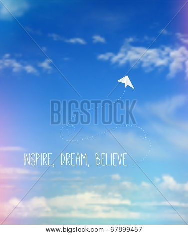 Vector Blurred Sky with Clouds and Light Leaks, Paper Airplane and Inspirational Quote.
