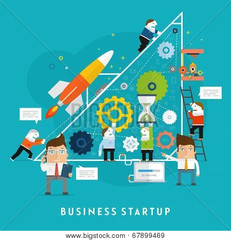 Business Startup Vector Illustration. Flat Style Design. Mobile Technologies, Time and Money Management. Teamwork Concept.