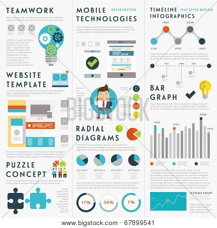 Set of Infographic Elements. Business Icons, Idea Concept. Teamwork and Mobile Technologies Elements. Charts and Diagrams, Puzzle Pieces and Web Site Templates