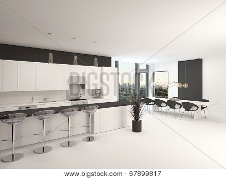 Modern open-plan black and white kitchen interior with a counter and bar stools and a set of armchairs grouped in front of corner view windows