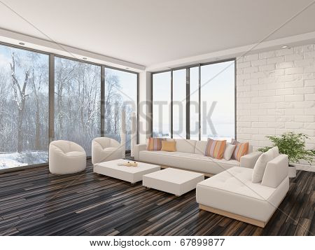 Modern minimalist sitting room interior with a bare wooden parquet floor, contemporary upholstered lounge suite and large view windows with a garden view in a white brick wall