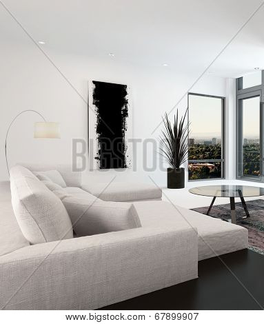 White and black living room interior with a close up view of a large upholstered sofa overlooking corner windows overlooking a town or city