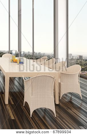 Modern dining room interior in an apartment or house with a wicker suite on a parquet floor and large view windows overlooking a city