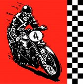 stock photo of yesteryear  - vector Moto motocycle retro vintage classic illustration - JPG