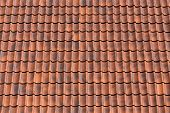 image of red roof tile  - Red tiles roof background texture of a house - JPG