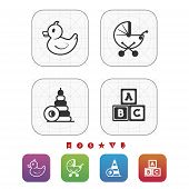 stock photo of playtime  - Safe playtime: Kids toys pictured here from left to right top to bottom - Rubber duck Baby stroller Blocks Letter blocks. 