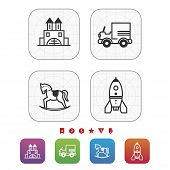 stock photo of playtime  - Safe playtime: Kids toys pictured here from left to right top to bottom - Blocks Car Rocking horse Space rocket. 