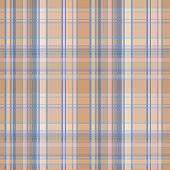 stock photo of kilt  - Seamless plaid material pattern with blue lines on brown - JPG