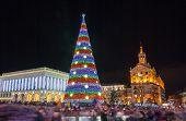 picture of kiev  - Christmas tree on Maidan Nezalezhnosti in Kiev Ukraine - JPG