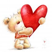 foto of teddy  - Teddy bear with the big red heart - JPG