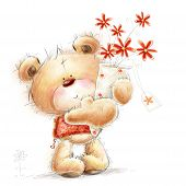 image of teddy  - Cute Teddy bear with the red flowers - JPG