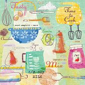 foto of pinafore  - Seamless pattern with kitchen items - JPG