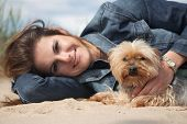 picture of yorkie  - beautiful young woman with dog - JPG