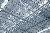 picture of roof-light  - Industrial factory ceiling with roof beam and lights - JPG
