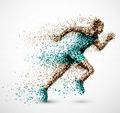 stock photo of competition  - Running man from circles - JPG